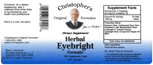 Dr  Christopher's Herbal Eye Formula was designed to support