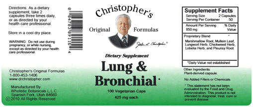 Dr. Christopher's Lung & Bronchial Formula, A synergistic ...
