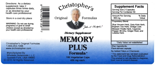 Dr  Christopher's Memory Plus Formula contains herbs that