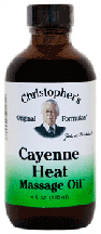 Cayenne Heat Massage Oil, 4 oz. Dr Christophers Cayenne Heat Massage Oil,relaxing massage oil,massage oil for sore muscles