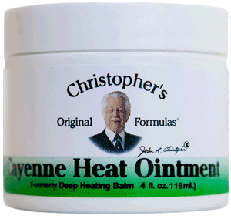 Cayenne Heat Ointment, 4 oz. Dr Christophers Cayenne Heat Ointment,ointment for sore muscles,herbs for achey muscles