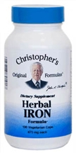 Herbal Iron Formula, 100 capsules Dr Christophers Herbal Iron,natural iron products,food based iron,herbs that are iron rich,