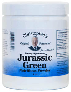 Jurassic Green Powder, 4 oz. Dr Christophers Jurassic Green,barley greens,wheat grass juice,alfalfa juice,green drink