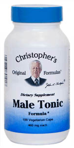 Male Tonic Formula, 100 capsules Christophers Male Tonic Formula,herbs for men,herbs for mens reproductive health