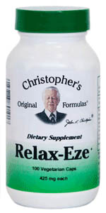 Relax-Eze, 100 capsules Dr Christophers Relax-Eze formula,herbs to repair nerve damage,herbs for stress,herbs for sleep